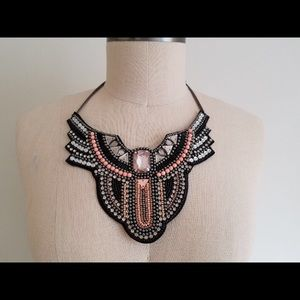 H&M Black/Silver/Pink Bib Necklace